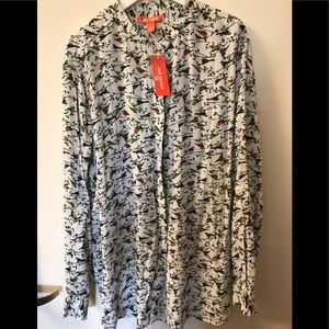 NWT joe fresh Cute Bird print long sleeve blouse
